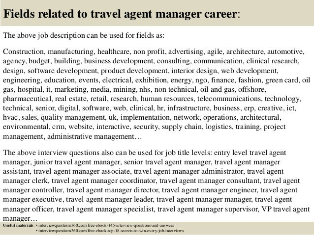 Wonderful ... 18. Fields Related To Travel Agent Manager Career: The Above Job  Description ...