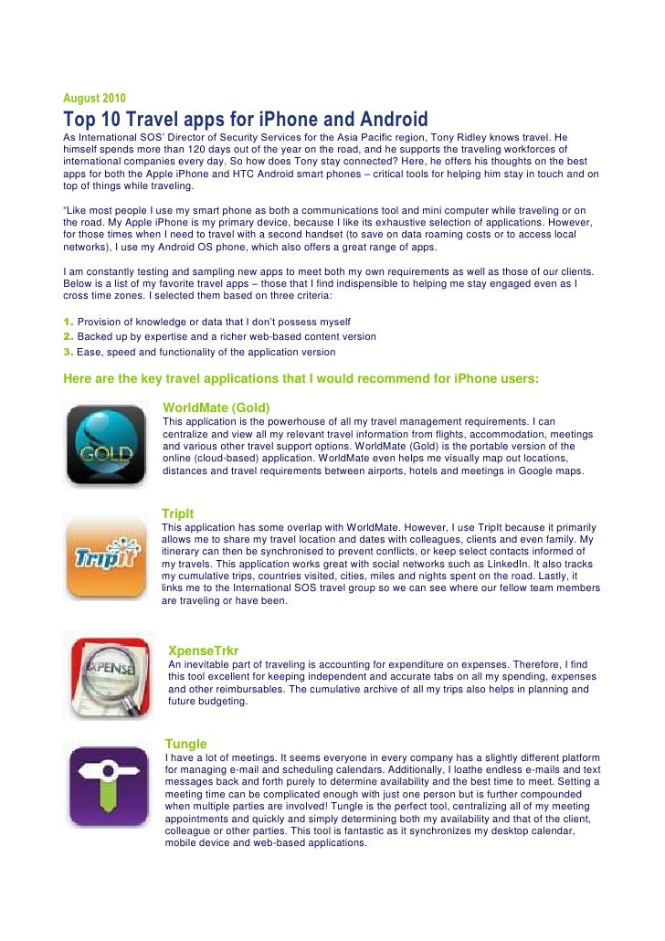 International SOS TravelsAugust 2010Top 10 Travel apps for iPhone and AndroidAs International SOS' Director of Security Se...