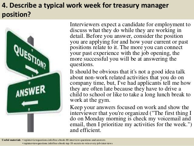 5 4 describe a typical work week for treasury manager - Job Description Treasury Manager