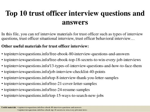 Top 10 trust officer interview questions and answers