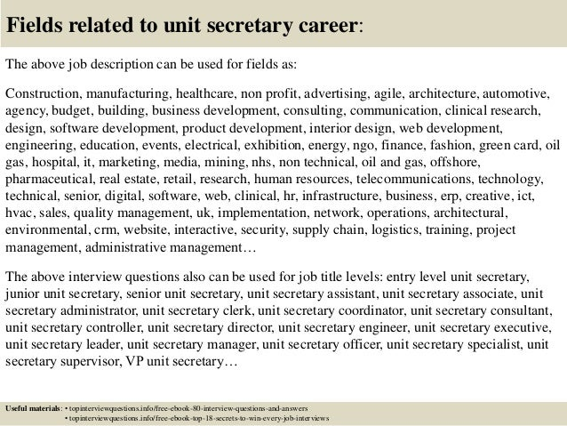 top 10 unit secretary interview questions and answers