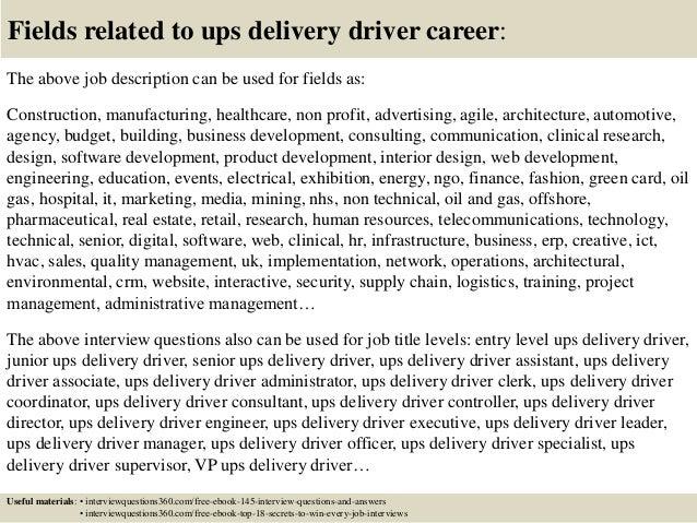 job description of a delivery driver