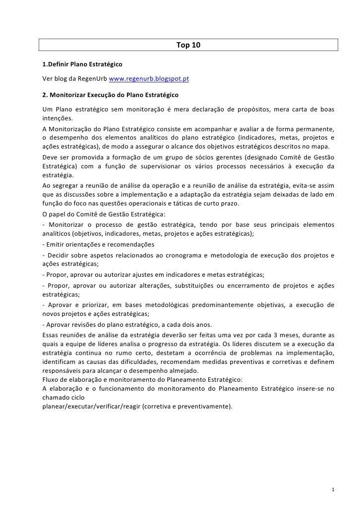 Top 101.Definir Plano EstratégicoVer blog da RegenUrb www.regenurb.blogspot.pt2. Monitorizar Execução do Plano Estratégico...