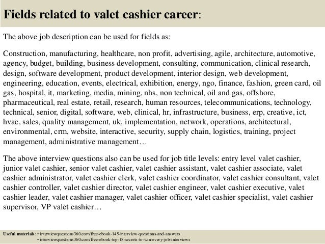 Top 10 valet cashier interview questions and answers