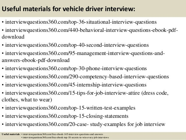 Top 10 vehicle driver interview questions and answers