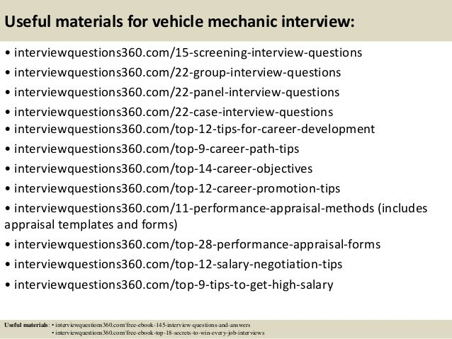 Top 10 vehicle mechanic interview questions and answers