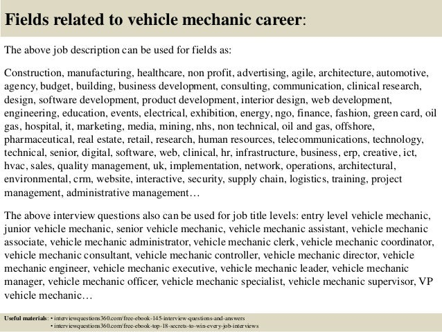 18 fields related to vehicle mechanic career the above job description - Motorcycle Mechanic Job Description