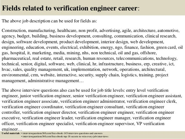 18 fields related to verification engineer - Design Verification Engineer Sample Resume