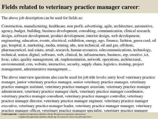 ... 17. Fields Related To Veterinary Practice Manager ...