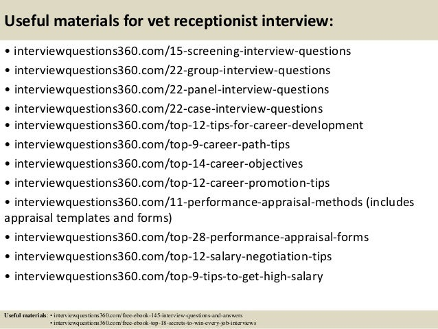 16. Useful Materials For Vet Receptionist Interview: .