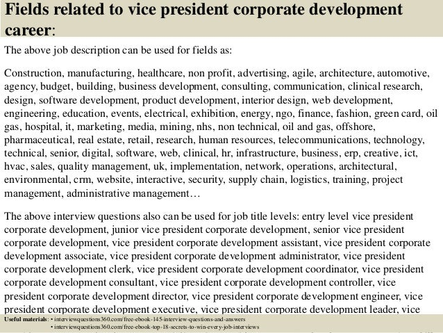 Top  Vice President Corporate Development Interview Questions And A