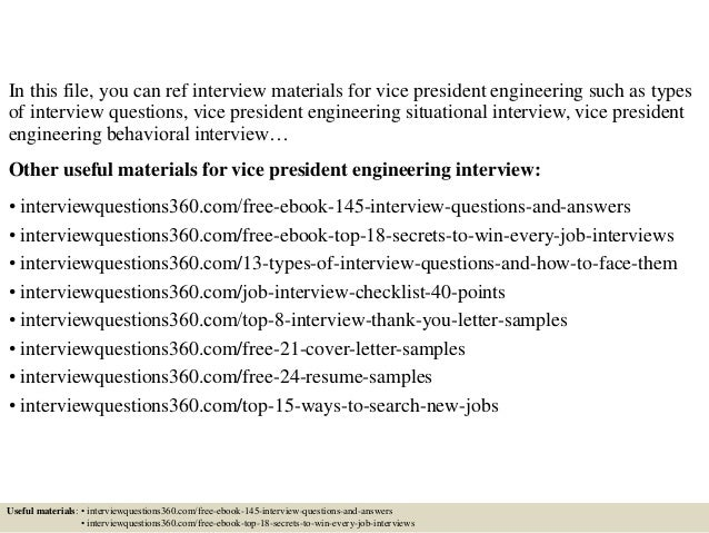 top 10 vice president engineering interview questions and answers