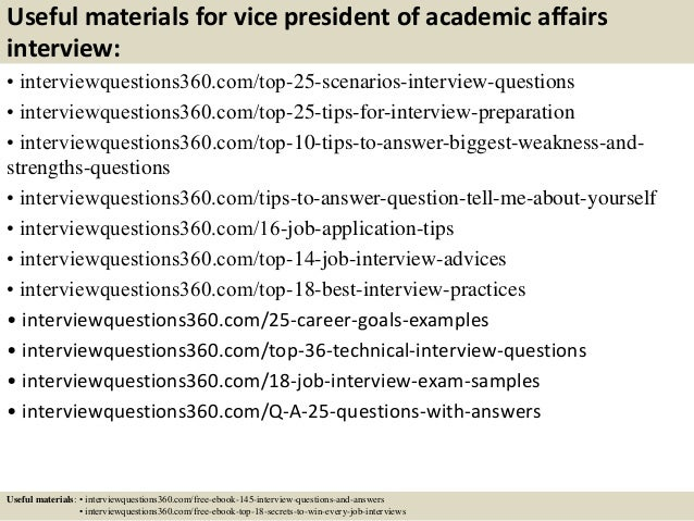 top 10 vice president of academic affairs interview