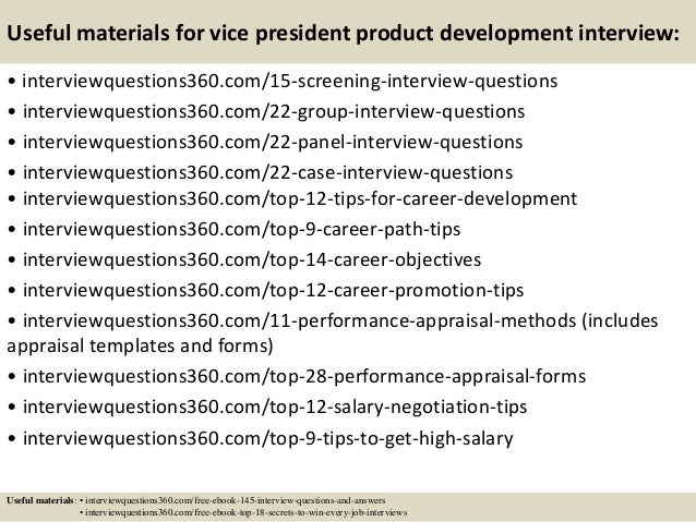 Top 10 vice president product development interview