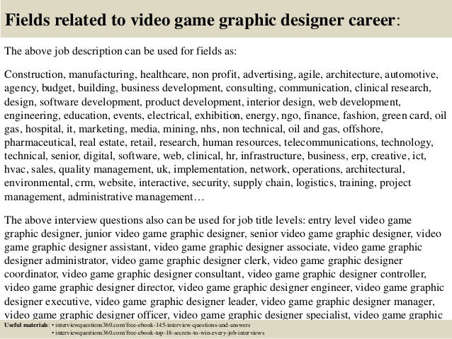 18 fields related to video game graphic designer career the above job description