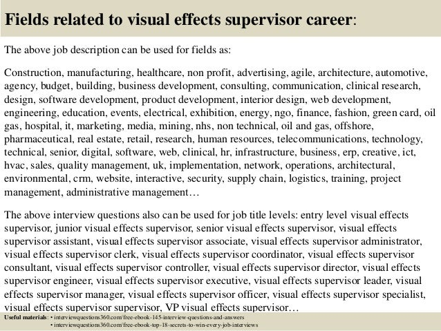 Top 10 visual effects supervisor interview questions and answers