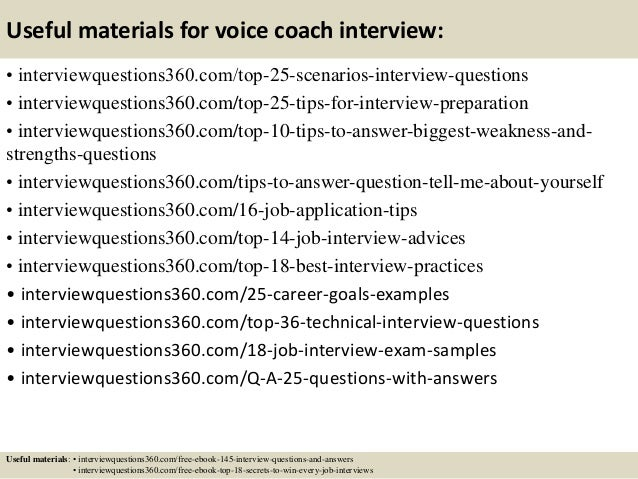 Top 10 voice coach interview questions and answers