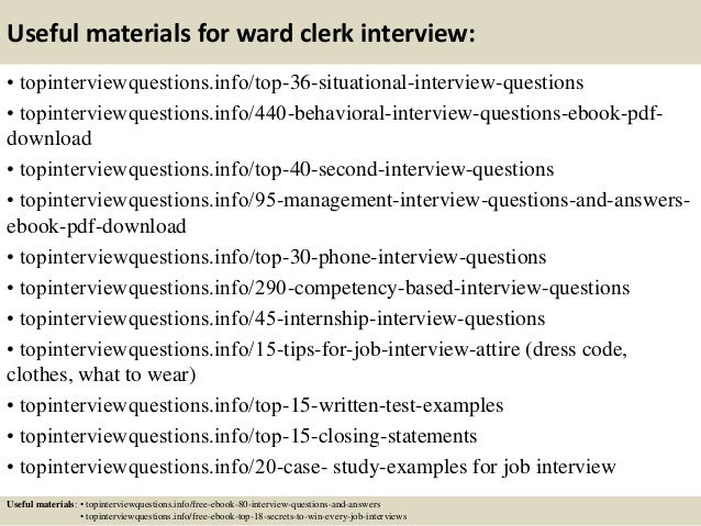 12 Useful Materials For Ward Clerk Interview