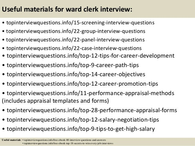15 Useful Materials For Ward Clerk Interview