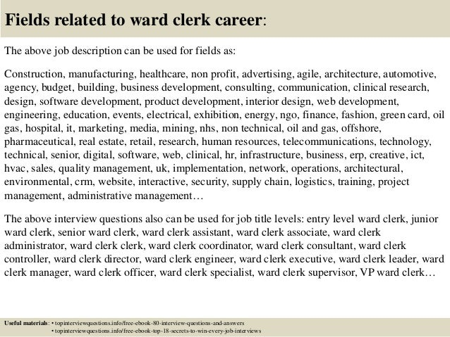 17 Fields Related To Ward Clerk