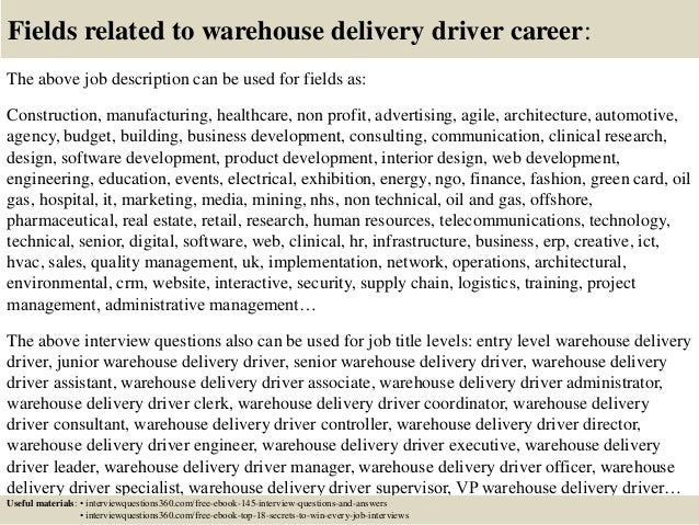 Top 10 warehouse delivery driver interview questions and answers – Warehouse Associate Job Description