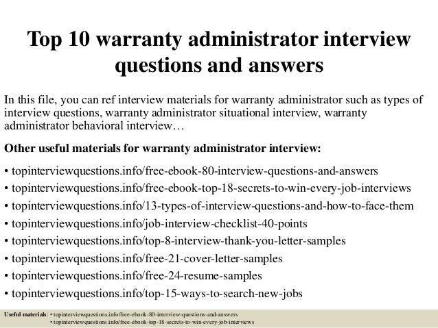 Attractive Top 10 Warranty Administrator Interview Questions And Answers In This File,  You Can Ref Interview ...
