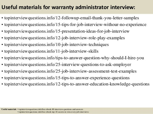 Awesome Automotive Warranty Administrator Cover Letter Gallery ...