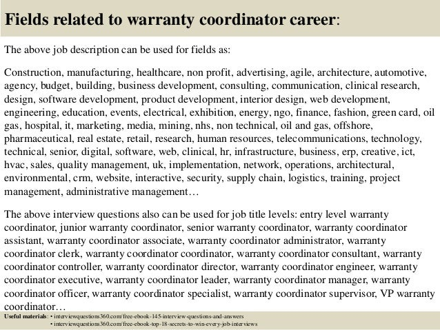 Top 10 warranty coordinator interview questions and answers
