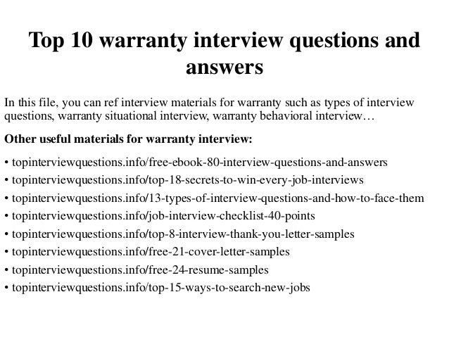 top 10 warranty interview questions and answers