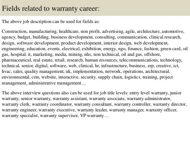 16. Fields Related To Warranty ...