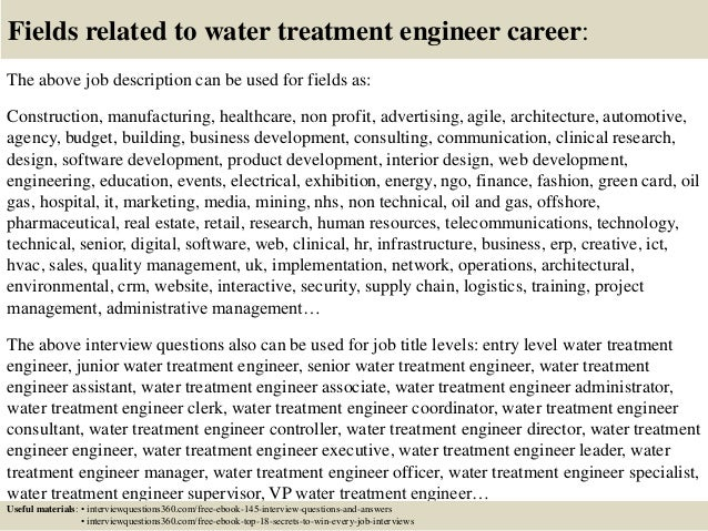 Top 10 Water Treatment Engineer Interview Questions And