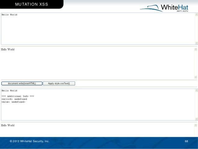 © 2013 WhiteHat Security, Inc. 68 MUTATION XSS