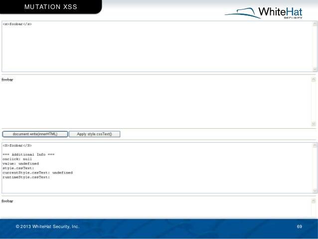 © 2013 WhiteHat Security, Inc. 69 MUTATION XSS