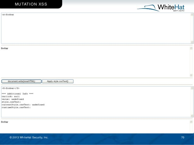 © 2013 WhiteHat Security, Inc. 70 MUTATION XSS