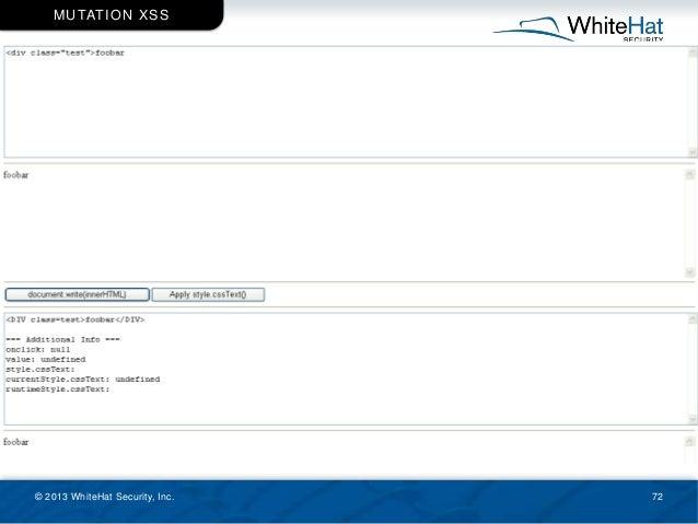 © 2013 WhiteHat Security, Inc. 72 MUTATION XSS