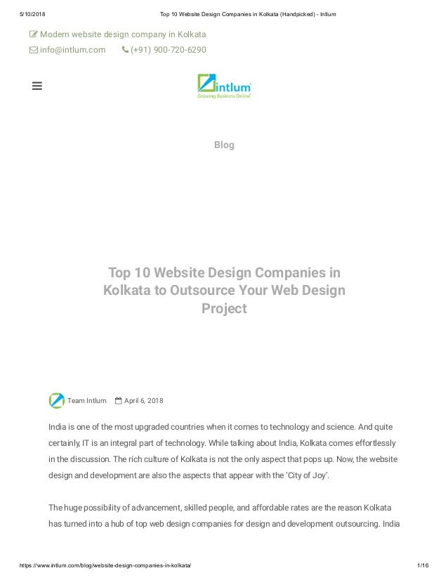 Top 10 Website Design Companies In Kolkata Handpicked Intlum