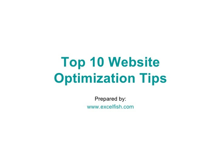 Top 10 Website Optimization Tips Prepared by: www.excelfish.com
