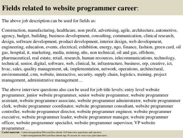 18 Fields Related To Website Programmer Career The Above Job Description