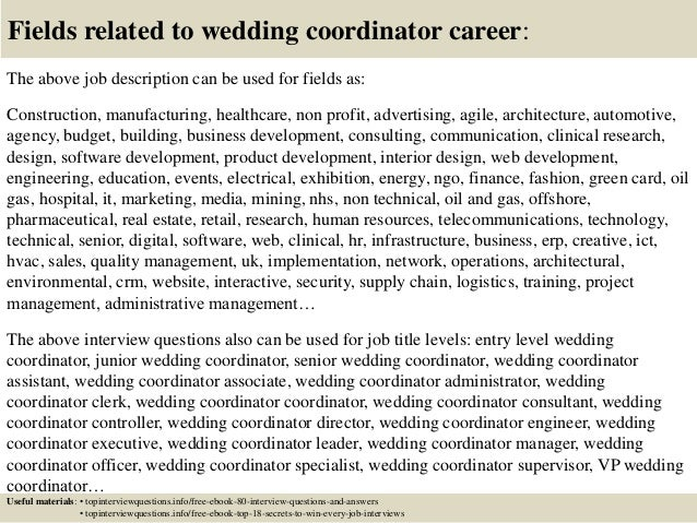 top 10 wedding coordinator interview questions and answers