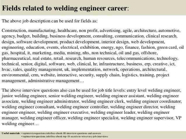 ... 17. Fields Related To Welding Engineer Career: The Above Job Description  ...