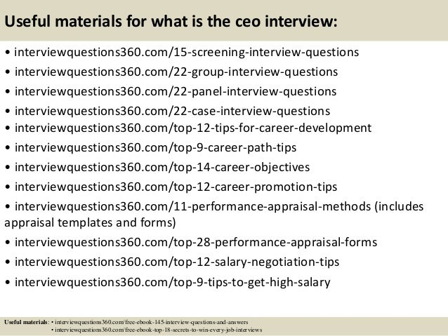 Top 10 what is the ceo interview questions and answers