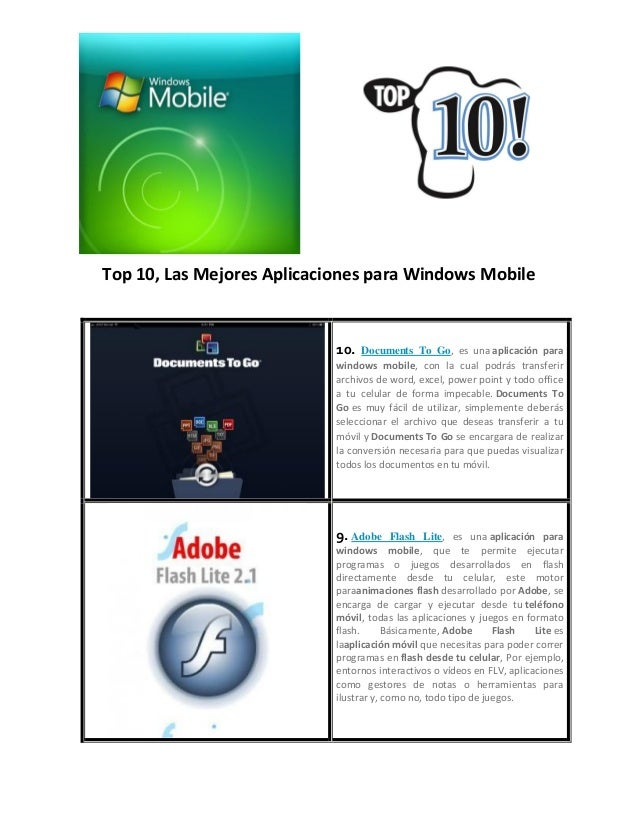 Top 10, Las Mejores Aplicaciones para Windows Mobile 10. Documents To Go, es una aplicación para windows mobile, con la cu...