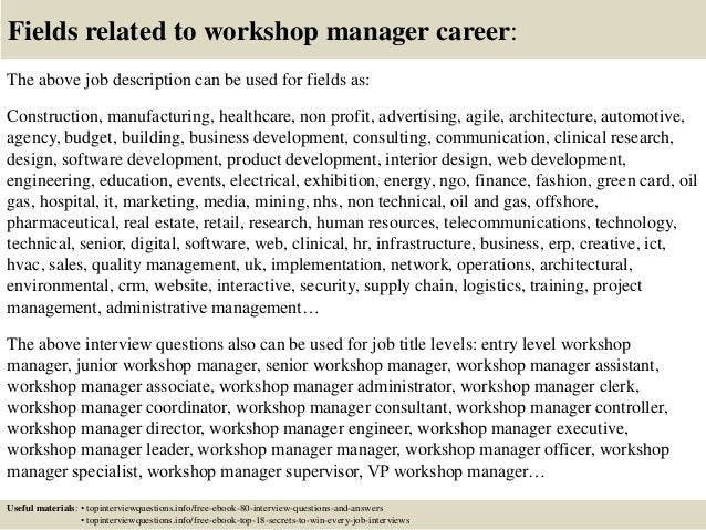 top 10 workshop manager interview questions and answers