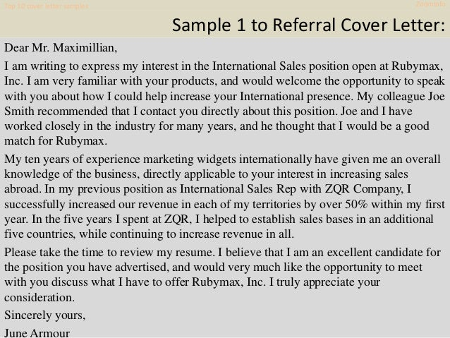 Top 10 zoom info cover letter samples
