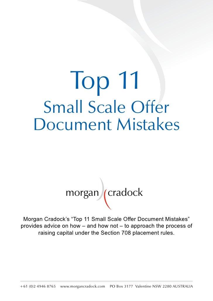 """Top 11        Small Scale Offer       Document Mistakes                          morgan cradock   Morgan Cradock's """"Top 11..."""
