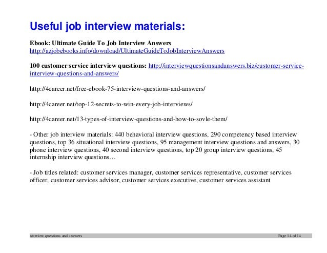Resume 14. Nterview Questions And Answers Page 14 Of 14 Useful Job Interview ...