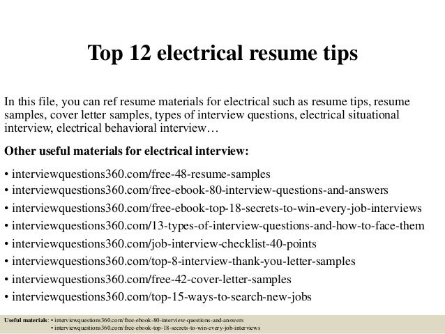 top 12 electrical resume tips in this file you can ref resume materials for electrical - Electricians Resume Examples