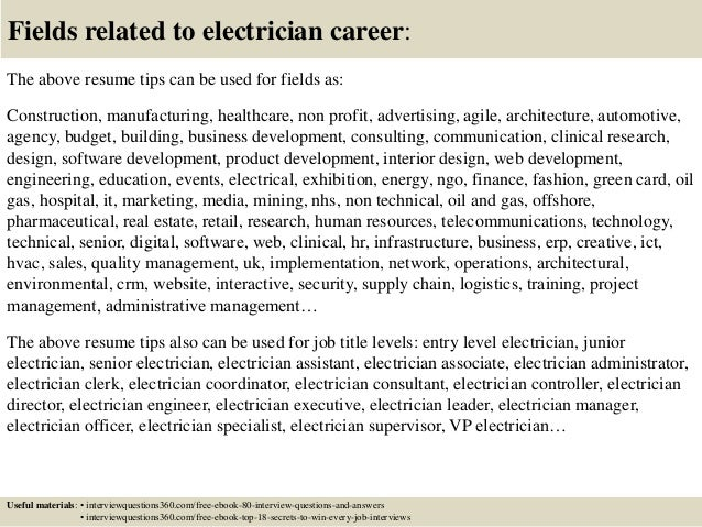 Assistant electrician resume