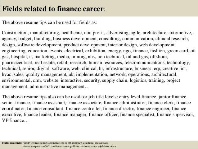finance resume tips