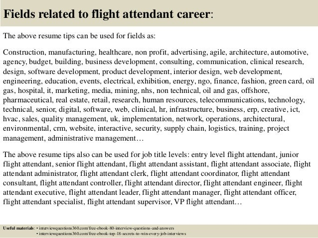 18 fields related to flight attendant - Resume For Flight Attendant